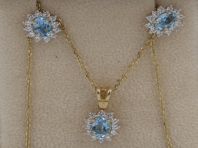 Χρυσό Σετ κ14 με μπλε τοπάζι
